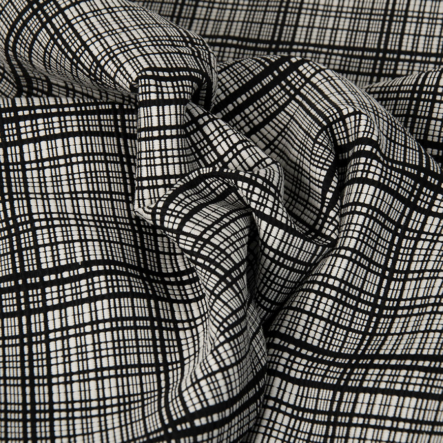 Black & White Check Blend Fabric 3311 - Fabrics4Fashion