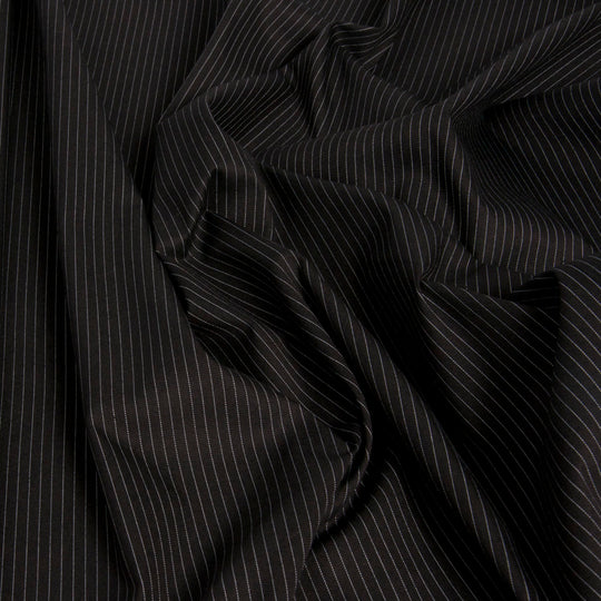 Pinstripe Black Stretch Cotton 1451Woven