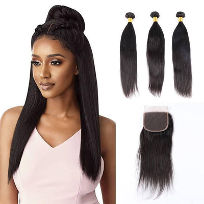 3 PCS Indian human hair extensions with 4x4 closure - zsfwigs