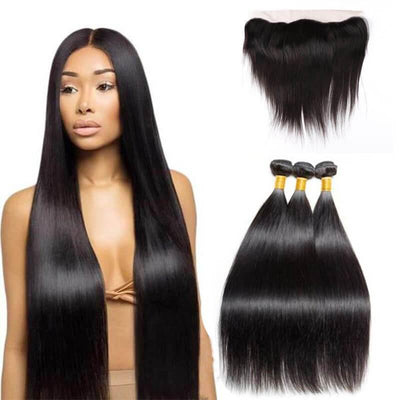Peruvian remy hair weaving bundles with a 13x4 lace frontal - zsfwigs