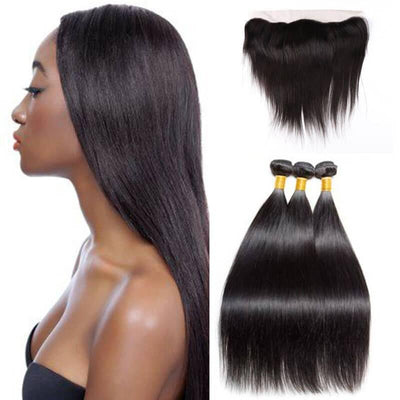Malaysian 3 bundles with 13x4 frontal straight hair - zsfwigs