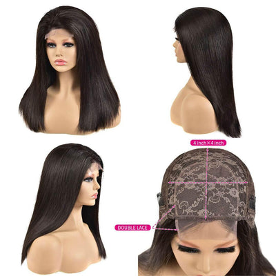 150% Density Brazilian 4x4 lace closure with wig straight human hair - zsfwigs