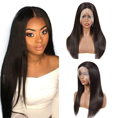150% Density Brazilian T part lace front with wig straight human hair - zsfwigs