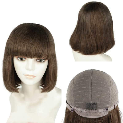 Indian brown color human hair glueless wig with bangs for sale - zsfwigs