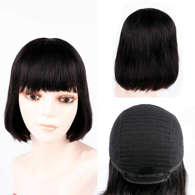 Brazilian glueless bob style remy human hair wig with bangs - zsfwigs