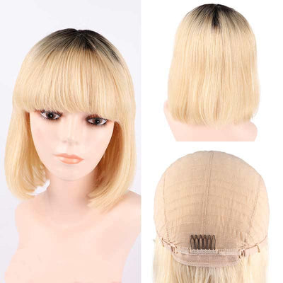 613 Ombre Brazilian human hair glueless none lace wig with bangs - zsfwigs