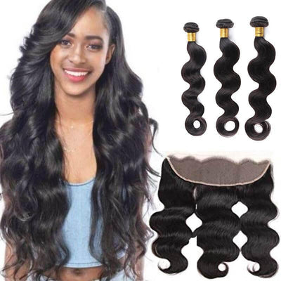 Indian hair body wave 3 bundles with frontal deals - zsfwigs