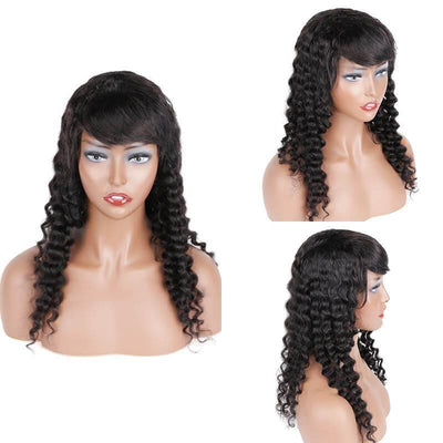 Brazilian glueless long human hair wig deep wave 130% density - zsfwigs