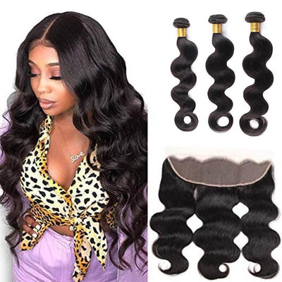 Body wave Brazilian virgin remy 3 bundles with 13x4 frontal - zsfwigs