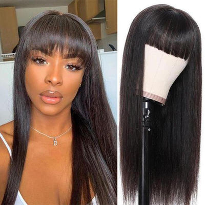 Malaysian glueless long straight remy human hair wig with bangs - zsfwigs