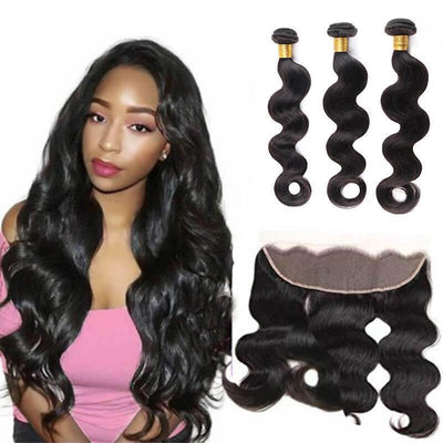 Malaysian highlighted three bundles with 13x4 frontal body wave - zsfwigs