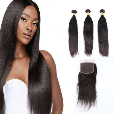 Malaysian remy human hair bundles with closure 4pcs lot - zsfwigs