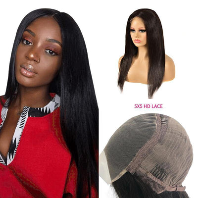 New Arrival Brazilian 5x5 HD human hair lace closure wig straight hair - zsfwigs