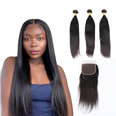 Peruvian human hair 3 bundles with 4x4 closure - zsfwigs