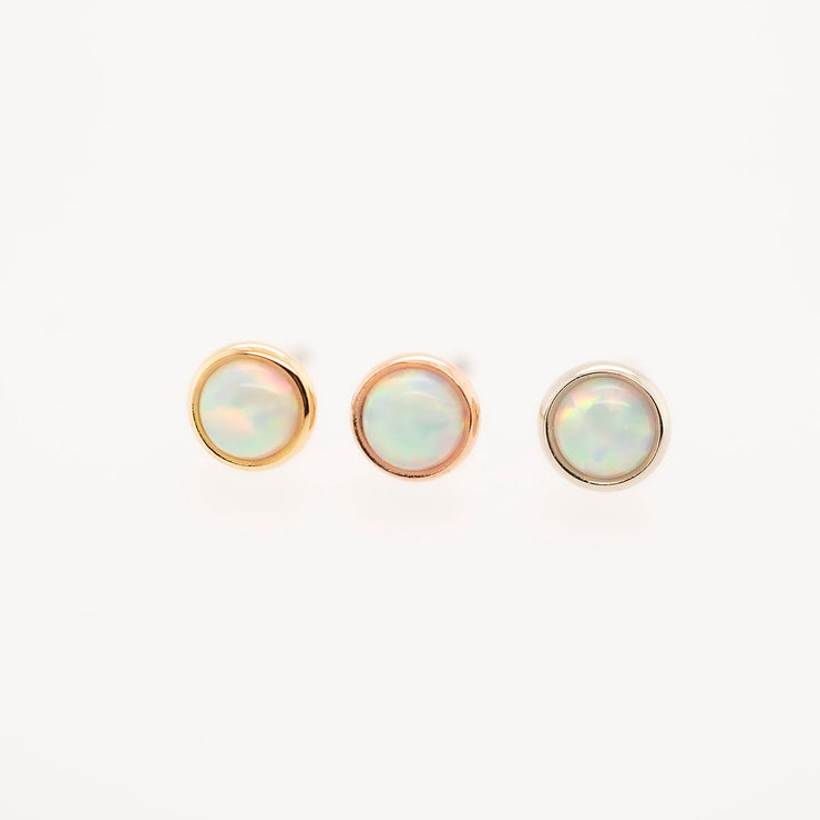Gold Threadless Opal Gem End