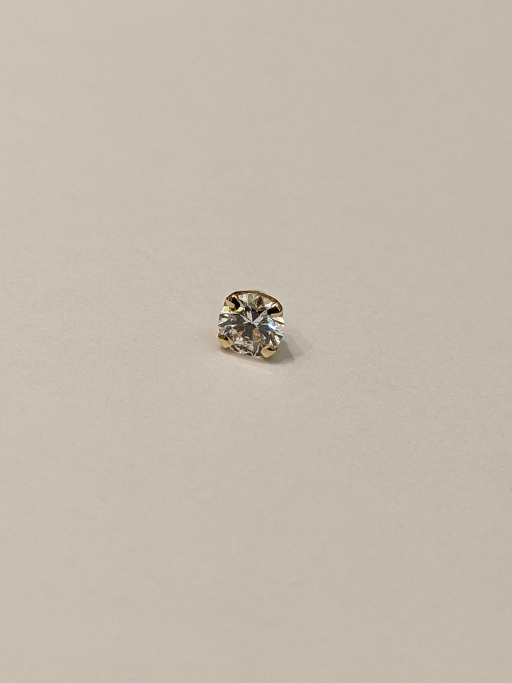 Gold Threaded 4 Prong Gem End