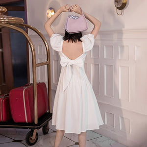 GALCAUR Vintage Bowknot White Dress For Women Suqrare Collar Puff Sleeve Backless High Waist Elegant Dresses Female 2020 Summer