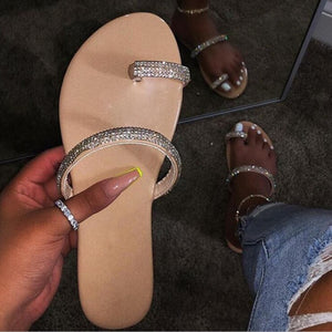 2020 Women Plus Size Sandals Bling Crystal Summer Woman Beach Flat Shoes Women's Outdoor Flip Flop Ladies Soft Bottom Slippers