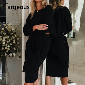 Fargeous Casual White Sexy Skirt Suits Women 2019 Autumn Winter Black Crop Top Skirt Sets Elegant Bodycon Maxi Black Skirt Sets