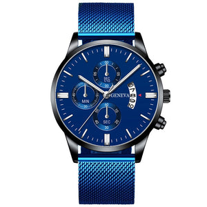 Montre Homme Classic blue Stainless Steel Mesh Belt Men Watch Fine Strap Quartz Watch Fashion Business Analog Clock Uhren Herren
