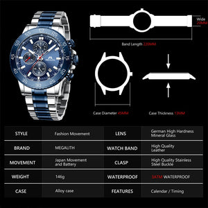 MEGALITH Watches Mens Waterproof Analogue Clock Stainless Steel Waterproof Luminous Watch Men Sports Relogio Masculino With Box