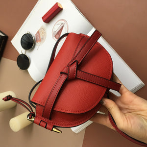 Mixed Colors WOMEN'S Bag Bow Semicircle Bag Genuine Leather Fashion Mini Saddle Bag Shoulder Cross-body Contrast Color Bag