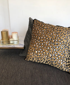 GOLD BEIGE LEOPARD CUSHION