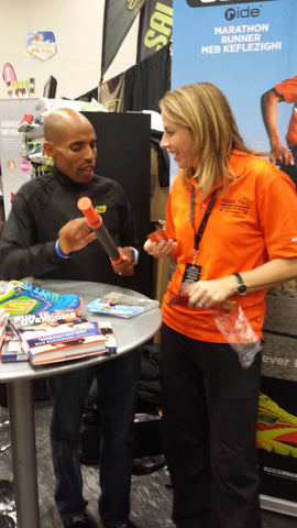 Top American Marathoner Meb Keflezighi with Tiger Tail Inventor Spring Faussett