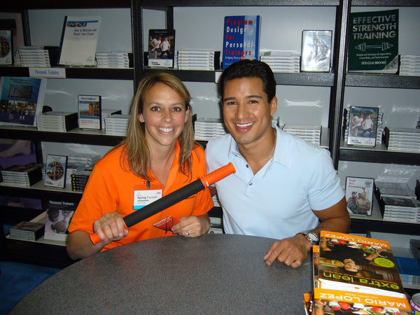 Actor Mario Lopez with Tiger Tail Inventor Spring Faussett