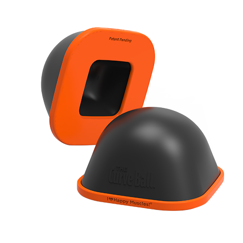 Image of Curve Ball; black foam dome; orange base; massage tool; trigger point