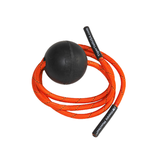 tiger ball; black ball small; orange rope with black tips; trigger point therapy