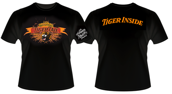 image of black shirt with front text Tiger Tail on orange banner; tiger head; back orange lettering tiger inside; sleeve lettering white happy muscles
