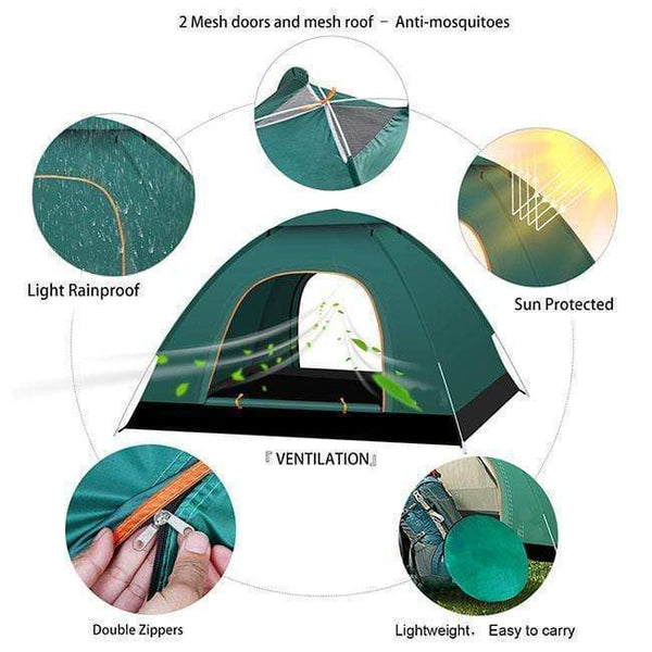 Fully automatic shrink / pop-up camping tent