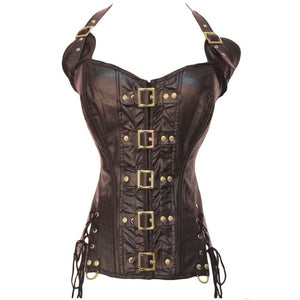 Punk Women's Leather Vests Gothic Slim Fit Brush Color Thoracotomy Waistcoat Victorian Sleeveless Vest