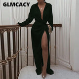 Women Solid Twisted Design Shirt Dress Long Sleeve  Summer Dress High Split Maxi Dresses Vestidos De Verano