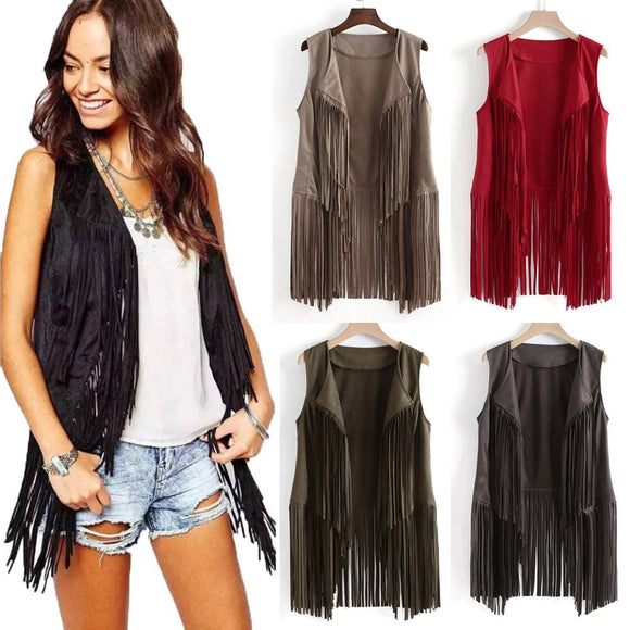 new cool Women vest coat Ethnic Sleeveless With Tassels Fringed Vests Cardigan Women's Clothing Open stitch S~3XL W0717#10