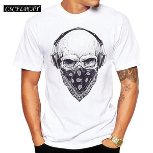 Men T Shirts Fashion Skull with Headphones Design Short Sleeve Casual Tops Hipster Vintage Printed T-Shirt Cool Tee