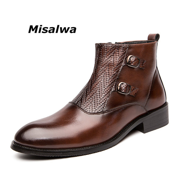 Misalwa Retro Original Men PU Leather Boots Pointy Brogue Italian Zipper Men Dress Shoes Side Buckle Elegant Decent Male Boots