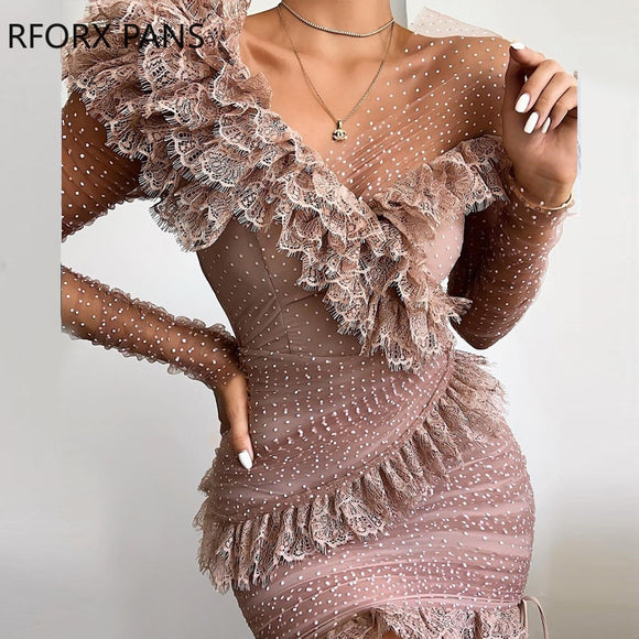 Dot Lace Ruffles Patchwork Design Ruched Dress Women Dress