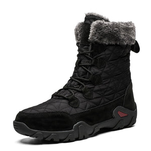 Men Winter Warm Fur Plush Suede Leather & Waterproof Fabric Ankle Snow Boots Male High Top Anti Slip Rubber Work Safety Shoes