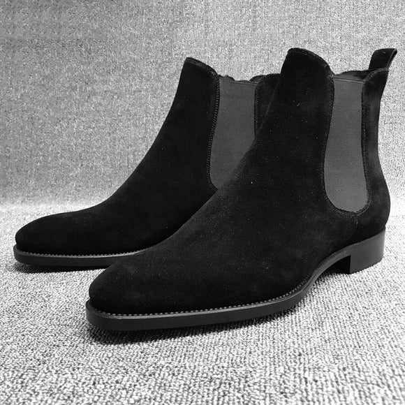 Chelsea Boots Men Slip On Pointed Toe Ankle Boots Fashion Faux Suede Male Casual Shoes Solid Low Heels Winter Boots For Man D40