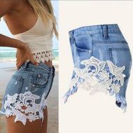 Summer Style Shorts Women Jeans Lace Floral Button Ripped Denim Shorts Mini Plus Size S-XXL Short Feminino