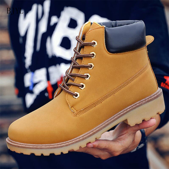 Classic Casual Men Boots Autumn Breathable Comfortable Lace-up Couple Ankle Boots Yellow Tooling Boots Men B302