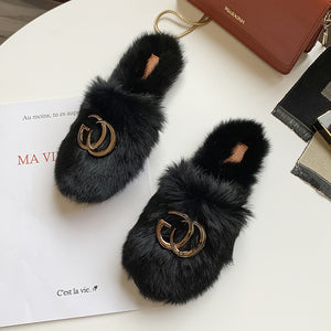 Women Furry Slippers Ladies Shoes Cute Plush Rabbit Hair Fluffy Sandals Women's Fur Slippers Warm Slippers Women Design Slides