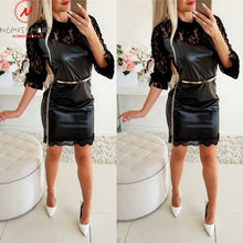 Load image into Gallery viewer, Sexy Women Spring Autumn Pencil Dress Hollow Out Design Lace Decor See Through O-Neck Long Sleeve Solid Slim Hips Mini Dress
