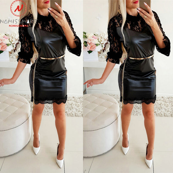 Sexy Women Spring Autumn Pencil Dress Hollow Out Design Lace Decor See Through O-Neck Long Sleeve Solid Slim Hips Mini Dress