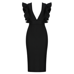 Hot Sale Fashion Sexy V Neck Ruffles Black Red Bodycon Bandage Dress 2020 Designer Fashion Party Dress Vestido