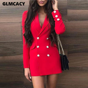 Women Notched Lapel Collar Double Breasted Pocket Design Blazer Dress Chic Elegant Long Sleeve Office Lady Spring Fall Dress