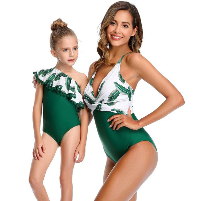 One Piece Swimsuit Mother Daughter Swimming Suit For Girls Mommy Kids Swimwear Women Family Matching Clothes Monokini bodysuit