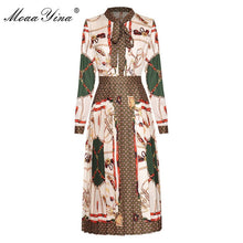 Load image into Gallery viewer, Fashion Designer dress Spring Autumn Women's Dress Long sleeve Vintage Print Pleated Dresses